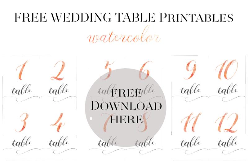 Watercolor Tischnummern Freebie (free download) | Hochzeitsblog
