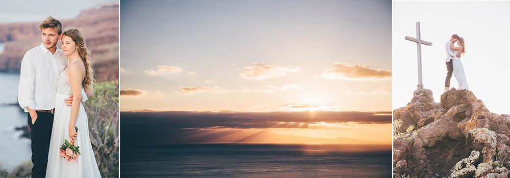 Brautpaar am Strand der Kanarischen Inseln, Sonnenaufgang erblickend