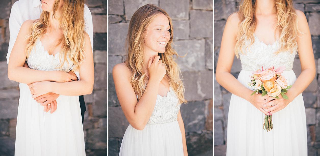 Braut mit weißem Brautkleid in Spanien
